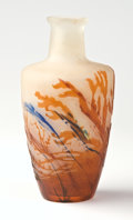 """Art Glass:Galle, EMILE GALLÉ. A Cameo Glass """"Underwater Floral"""" Vase, circa 1900.Marks: cameo Gallé. 6 inches (15.2 cm) high. ..."""