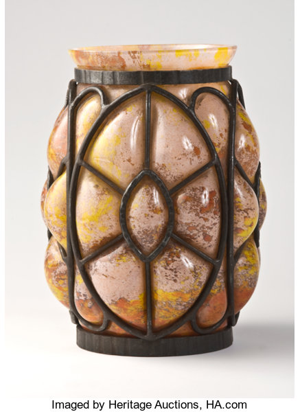 Schneider A Mottled Glass And Wrought Iron Vase Circa Lot 75164