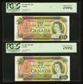Canadian Currency: , BC-50b $20 1969 Two Consecutive Examples. ... (Total: 2 notes)