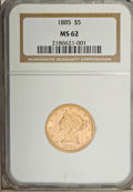 Liberty Half Eagles: , 1885 $5 MS62 NGC. NGC Census: (278/381). PCGS Population (207/244).Mintage: 601,400. Numismedia Wsl. Price for problem fre...