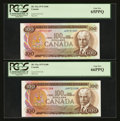 Canadian Currency: , BC-52a $100 1975 Two Consecutive Examples. ... (Total: 2 notes)