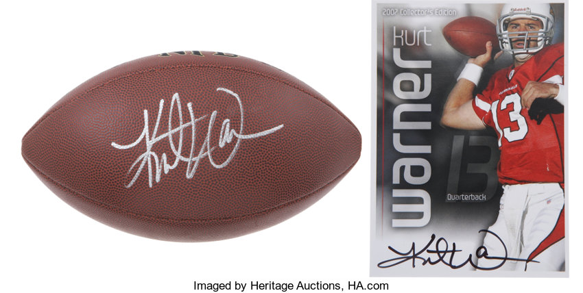 finest selection 94b77 b42c1 Kurt Warner Signed Football and Card Group Lot of 2 ...