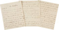 "Autographs:Non-American, Arthur Wellesley, Duke of Wellington, Autograph Letter Signed,""Wellington"". Eleven pages, 7.5"" x 9.25"", three sheets of..."