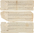 "Autographs:Statesmen, Six New York City Legal Documents, ""Richard Varick"" signed,likely by clerk Robert Benson, as ""Mayor of the said City...(Total: 6 Items)"