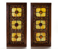 "Art Glass:Tiffany , TIFFANY STUDIOS. A Pair of Leaded Glass ""Jeweled"" Windows in oakframes, circa 1900. 33-1/4 x 15-1/2 inches (84.4 x 39.3 cm..."
