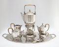Silver Holloware, Continental:Holloware, OTTO PRUTSCHER FOR J.C. KLINKOSH, VIENNA. An Eight-Piece Silver and Ivory Tea and Coffee Service, circa 1920. Marks: with fi... (Total: 9 Items)