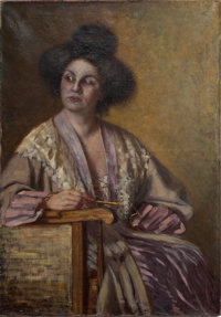 CARLO BUGATTI Portrait of a Lady, circa 1910-1911 Oil on canvas Signed on edge of stretcher 42