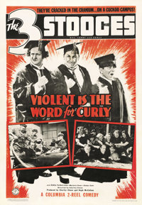 """Violent is the Word for Curly (Columbia, 1938). One Sheet (27"""" X 41"""")"""