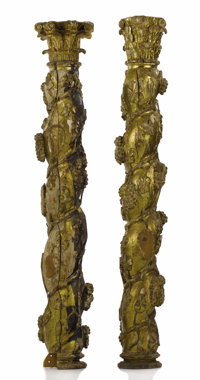 A PAIR OF SPANISH GILT CARVED COLUMNS  Unknown maker, Spain 17th century Wood, gilt Unmarked 62 inc