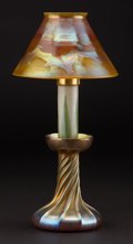 Art Glass:Tiffany , TIFFANY STUDIOS. A Favrile Glass Candle Lamp, circa 1900. Marks:shade and base engraved L.C.T.. 12 inches (30.5 cm) hig...