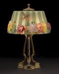 """Decorative Arts, American:Lamps & Lighting, PAIRPOINT. A Reverse Painted """"Puffy"""" Glass Boudoir Lamp, circa 1900. Base stamped: Pairpoint, (P within diamond), D209..."""
