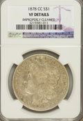 Morgan Dollars, 1878-CC $1 --Improperly Cleaned--VF20 NCS. VF Details. NGC Census: (13/12297). PCGS Population (34/18473). Mintage: 2,21...