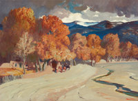 FREMONT F. ELLIS (American, 1897-1985) River Bed at Pajoque Oil on artist's board 22 x 30 inches