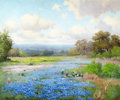 Texas, PORFIRIO SALINAS (American, 1910-1973). Texas Bluebonnets.Oil on canvas. 25 x 30 inches (63.5 x 76.2 cm). Signed lower ...