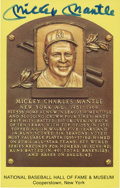 Autographs:Post Cards, Mickey Mantle Signed Hall of Fame Plaque. ...