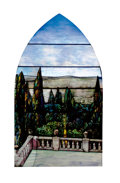 "Art Glass:Tiffany , TIFFANY STUDIOS. A Leaded Glass ""Landscape"" Window from ""Fenway Gate"", Boston, Massachusetts, selectively etched, circa 1912..."
