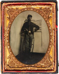 Military & Patriotic:Civil War, Exceptional Quarter Plate Tintype of a Federal Cavalryman....
