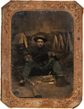 Military & Patriotic:Civil War, Civil War Quarter Plate Tintype of a Young Federal Infantryman Enjoying a Meal. ...