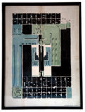 Fine Art - Work on Paper:Print, GERRIT THOMAS RIETVELD. Vereeniging van Onthouders, 1917-1920. Lithograph in colors. Signed on the stone. Printed by Zui...
