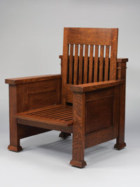 FRANK LLOYD WRIGHT An Oak Reclining Armchair, designed for the William E. Martin House, Oak Park, Illinois, circa