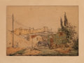 Texas:Early Texas Art - Drawings & Prints, JOSÉ ARPA PEREA (Spanish, 1860-1952). Untitled (Outside theVillage). Lithograph with hand tinting on paper. 6-1/2 x 9-1...