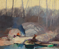 ROY MARTELL MASON (American, 1886-1972) Camping by the Water's Edge Oil on canvas 20-1/2 x 24 inc