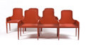 Furniture : French, JULES BOUY FOR CARLOS SALZEDO. A Lacquered Wood Dining Table,Sideboard, Two Armchairs, and a Pair of Tripleback Wood Benche...(Total: 6 Items)