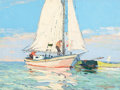 Paintings, PAUL RICHARD SCHUMANN (American, 1876-1946). Sailboat. Oil on board. 9 x 12 inches (22.9 x 30.5 cm). Sig...