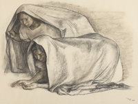 FRANCISCO ZÚÑIGA (Mexican, b. 1912) Crouching Women, 1967 Charcoal on paper 19 x 25 inches (48.3