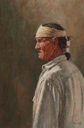 Texas:Early Texas Art - Drawings & Prints, DAVID SANDERS (American, b. 1936). Portrait of an Indian.Pastel on paper. 29-1/2 x 19-1/2 inches (74.9 x 49.5 cm) windo...