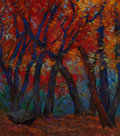Texas, MICHAEL ETIE (American, b. 1948). Red Maples, Lost MaplePark. Pastel on paper. 17 x 15 inches (43.2 x 38.1 cm). Signed...