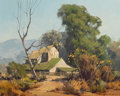 Western:20th Century, KARL ALBERT (American, 1911-2007). Ranch. Oil on canvas laid on board. 16 x 20 inches (40.6 x 50.8 cm). Signed lower rig...