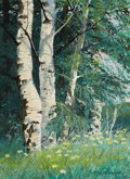 Western:20th Century, RAY SWANSON (American, 1937-2004). Teton Aspens, 1968. Oil on board. 15 x 11 inches (38.1 x 27.9 cm). Signed lower right...