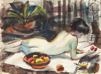 CHARLES SCHORRE (American, 1925-1996) Nude Watercolor on paper 18-1/2 x 25-1/2 inches (47.0 x 64