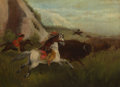 Paintings, Manner of CHARLES FERDINAND WIMAR (American, 1828-1862). Buffalo Hunt. Oil on canvas. 10 x 14 inches (25.4 x 35.6 cm). ...