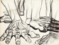 Texas:Early Texas Art - Drawings & Prints, JOHN BIGGERS (American, 1924-2001). Hands. Charcoal onboard. 18-1/2 x 24-1/4 inches (47.0 x 61.6 cm). ...