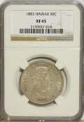 Coins of Hawaii: , 1883 50C Hawaii Half Dollar XF45 NGC. NGC Census: (31/249). PCGSPopulation (47/369). Mintage: 700,000. (#10991)...