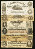 Confederate Notes:1861 Issues, Six Different Confederate Notes.. ... (Total: 6 notes)