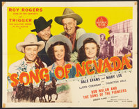 "Song of Nevada (Republic, 1944). Half Sheet (22"" X 28""). Western"