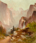 Western:19th Century, PROPERTY FROM THE DUFFY AND TINA OYSTER FOUNDATION. THOMAS HILL (British/American, 1829-1908). Yosemite View. Oil on c...