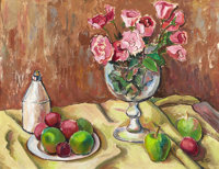 BROR ALEXANDER UTTER (American, 1913-1993) Still Life with Roses, Apples, and Plums Oil on board