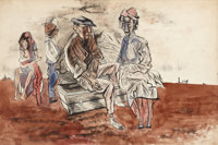JOHN BIGGERS (American, 1924-2001) Figures in a Landscape Ink and watercolor on cardboard 12-1/4