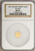 California Fractional Gold: , 1871 25C Liberty Round 25 Cents, BG-839, Low R.4, MS62 NGC. NGCCensus: (12/9). PCGS Population (43/25). (#10700)...