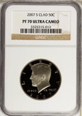 Proof Kennedy Half Dollars, 2007-S 50C Clad PR70 Ultra Cameo NGC. NGC Census: (0). PCGSPopulation (42). Numismedia Wsl. Price for problem free NGC/PC...