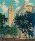 Texas:Early Texas Art - Modernists, JERRY BYWATERS (American, 1906-1989). The Giralda and theCathedral. Oil on canvas. 26 x 22 inches (66.0 x 55.9 cm).Sig...
