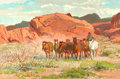 Western:20th Century, PROPERTY FROM THE DUFFY AND TINA OYSTER FOUNDATION. ROBERT E. LOUGHEED (American, 1910-1982). Through the Valley of Fire...