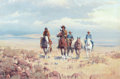 Texas:Early Texas Art - Regionalists, PROPERTY FROM THE DUFFY AND TINA OYSTER FOUNDATION. MELVIN CHARLESWARREN (American, 1920-1995). Searchers. Oil on can...