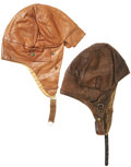 Military & Patriotic:WWI, Pair of Early Aviation Leather Flight Helmets.... (Total: 2 Items)