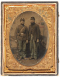 Military & Patriotic:Civil War, Quarter Plate Tintype of Two Federal Infantrymen, with a Pencil Script Letter on Patriotic Stationery dated June 23, 1862, Ide... (Total: 2 Items)