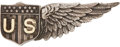 Military & Patriotic:WWI, World War I: Tiffany United States Army Air Service Sterling SilverJunior or Reserve Pilot Half Wing....